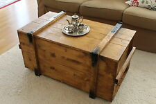 Chest Coffee Table Solid Wood Living Room Box Vintage Shabby L'