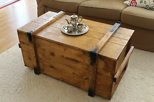 Chest Coffee Table Solid Wood Living Room Box Vintage Shabby (M