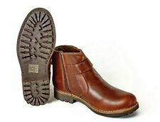 MENS LEATHER CHELSEA BOOTS BUCKLE BLACK SOLE PULL-UP SHOE SIZE 7 8 9 10 10 11 12