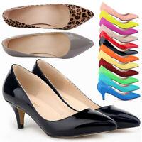 Women Low Mid Kitten Heel Pointy Toe Slip On Smart Pump Work Casual Wedding Shoe