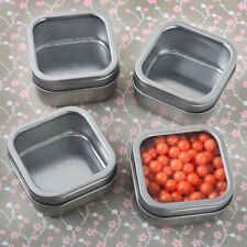 50 Silver Metal Square Fillable Mint Tin Wedding Bridal Shower Party Favors
