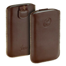 Exclusive T- Case Leder Tasche braun f HTC ONE X brown Leather Etui