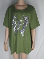 NWT Ulla Popken Green Cotton Knit Shirt Top 24/26 Silver Sequinned Butterfly NEW