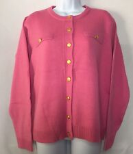 Appleseed's Women's Pink Button Front Cardigan Sweater, Medium