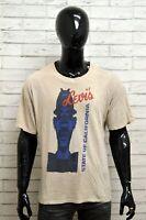 Maglia LEVIS Uomo Taglia Size XL Maglietta Shirt Man Cotone Manica Corta Beige