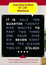 LED Wall Word Clock 12 x 12 Inches Displays Time As Text Bedroom Office Clock