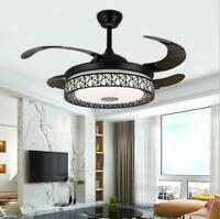 "42"" Bluetooth Invisible Music Ceiling Fan Lamp LED 3-Color Dimmer Chandelier"