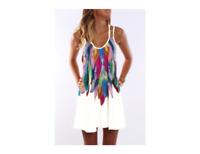 BOHO Longshirt Minikleid Strand Beach Urlaub Ibiza Federn Weiß Poly 44/46 NEU