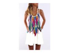 BOHO Longshirt Minikleid Strand Beach Urlaub Ibiza Federn Weiß M L 40 42 NEU