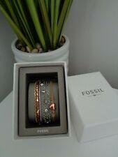 Fossil 3 x Bracelet Gift Set - Silver Crystal -  Rose Gold Leather Heart