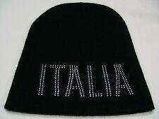ITALIA - RHINESTONE EMBELLISHED - ONE SIZE STOCKING CAP BEANIE HAT! (ITALY)