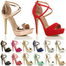 WOMENS LADIES HIGH HEEL CROSS OVER STRAPPY PLATFORM SANDALS PEEP TOE SHOES SIZE
