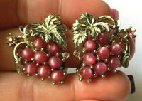 Vintage Gold Tone Fuschia Moonstone Rhinestone Grape bunch Fruit Clip Earrings