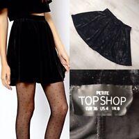 Topshop Crushed Velvet Skater Skirt Black UK 8 AA