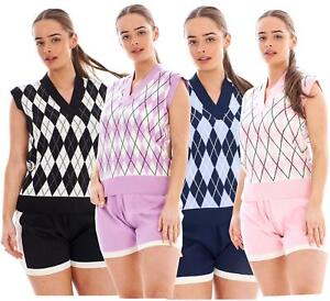 Ladies Argyle Pattern Sweater Vest Knitted Shorty Sets Sleeveless 2 piece suits