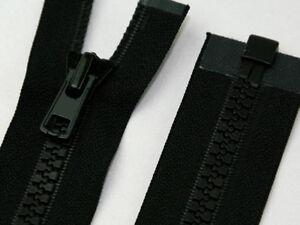 Black Chunky Plastic Teeth Zip Heavy Duty Zipper Open End Various Lengths