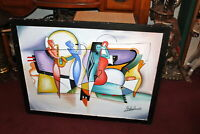 LARGE Original Cubist Abstract Painting Black Jazz Musicians Signed Colorful