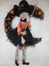 NEW-Large Witch Doll Sitting on Moon Halloween Wreath, Door Decoration-Nice!!