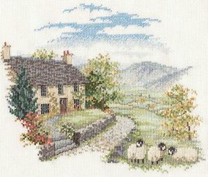 High Hill Farm Counted Cross Stitch Kit by Rose Swalwell Farmhouse with Sheep