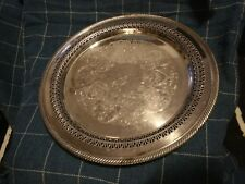 """Vintage Wm Rogers Silver Plated 12 1/4"""" Round Pierced Serving Tray Platter #170"""