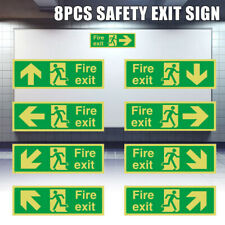 Photoluminescent Fire Safety Exit Sign All Direction Arrows Self-illuminating 8X
