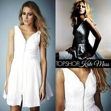 $160 KATE MOSS for TOPSHOP White Zip Front Cotton Pleat Sleeveless Dress~4 M3020