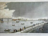 St. Petersburg Russia Neva River Military Officer 1830 street scene view