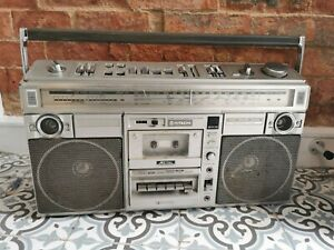Vintage 1981 HITACHI TRK-8290E Boombox/  Blaster Portable Radio Cassette Classic