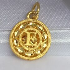 24K Solid Yellow Gold Initials E Round Charm/ Pendant, 4.18 Grams