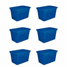 Sterilite 30 Gallon Plastic Stackable Storage Tote Container Box, Blue (6 Pack)