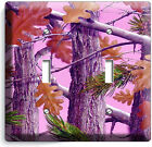 PINK OAK LEAVES MOSSY TREE CAMO CAMOUFLAGE DOUBLE LIGHT SWITCH PLATE GIRLS ROOM