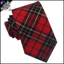 Red, Black & Gold Tartan Mens 8cm Tie Cotton