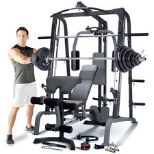 Marcy SM4000 Deluxe Smith Machine Home Multi Gym, Weight Bench & 140kg Plate Set