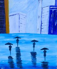 Rain City Buildings Natasha Petrosova Original Painting Impressionism 509
