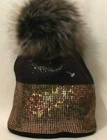 Womens Statement Multi Coloured Black Gold Sequin Faux Fur Pom Pom Beanie Hat