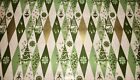 VTG CHRISTMAS WRAPPING PAPER GIFT WRAP GOLD GREEN HARLEQUIN TREES ORNAMENTS