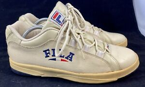 Vintage FILA Shoes Cream Leather Mens 11 Rare Spell Out Sneakers