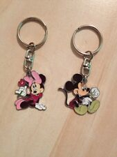 1 retro minnie mouse / 1 mickey mouse flower  keyrings