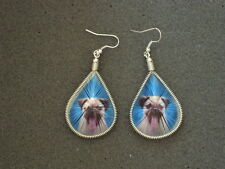 NEW PAIR OF THREAD EARRING WITH PUG PUPY PICTURE