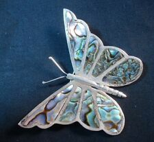 Mexican Butterfly Brooch Sterling Silver Jewelry Abalone Pin Eagle 1 AM 00514