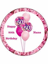 "Novelty Personalised 50th Birthday Pink 7.5"" Edible Wafer Paper Cake Topper"