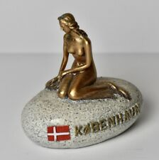 Vtg Kobenhavn Copenhagen Copper Bronze Figurine Souvenir Mermaid On Stone