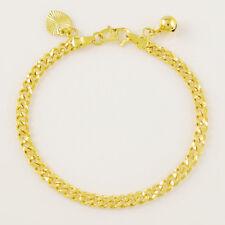 """Men Women Chain Bracelet 7.6"""" Gjh017 Top Quality 24K Gold Plated 4.5Mm Sideways"""