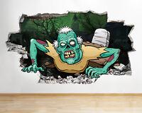 Q906 Zombie Cartoon Kids Bedroom Smashed Wall Decal 3D Art Stickers Vinyl Room