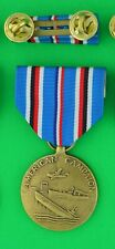 Wwii American Campaign Medal and Ribbon Bar on Holder Ww2 - Usa made - Acm