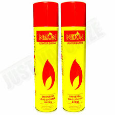 2x NEON ULTRA REFINED BUTANE GAS - FILTERED LIGHTER REFILL FUEL w/ 5 Adapters