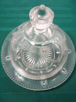 Clear Glass Vintage/Antique Covered Cheese/Butter Dish Draped Beaded Pattern