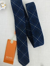 BNWT Hugo Boss Orange Label Blue Plaid 100% Cotton 5cm Narrow Tie