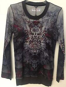 "Damen Longshirt Shirt ""Campione"" Grau/Bordeaux, Motiv, Rundhals, Größen 36, 40"