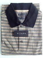 Kitaro Men Polo-Shirt Herren Kurzarm Grau/Braun Gestreift Baumwolle Gr. M